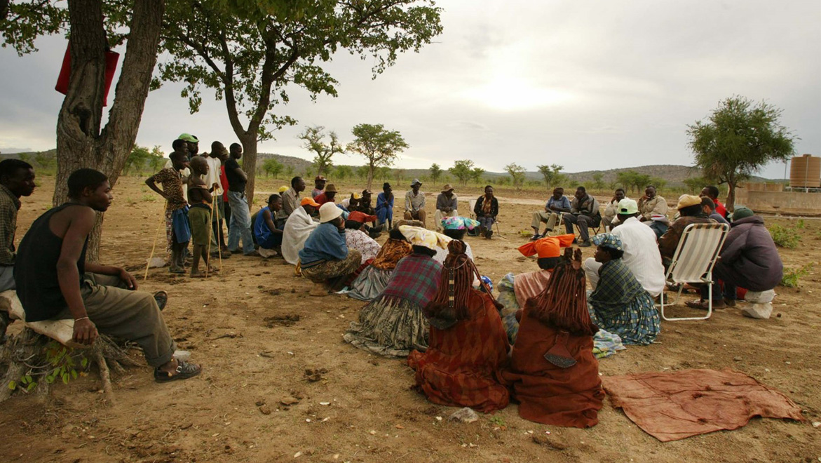 A community meeting in the Kaokoveld – the real cutting edge of African conservation which requires talking and listening to the rural people who live with wildlife